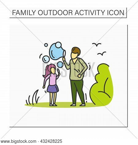 Blowing Soap Bubbles Color Icon. Father And Daughter Making Foam Bubbles Outdoors. Family And Childh