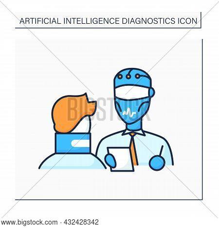 Robot Color Icon. Digital Doctor Help Patients. Treatment. Ai In Medicine. Ai Diagnostic Concept. Is
