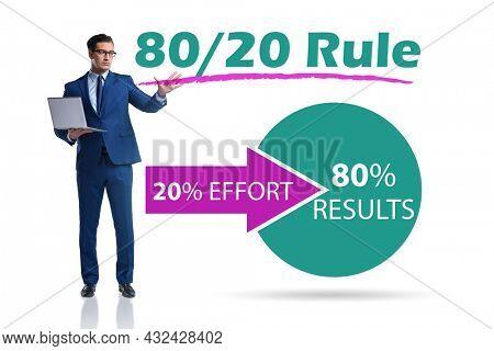 Businessman in pareto rule illustration
