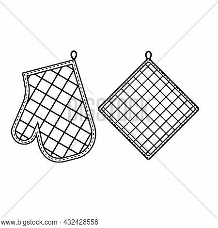 Oven Mitt And Oven Mitt, Black Contour Isolated Vector Illustration In Flat Style.