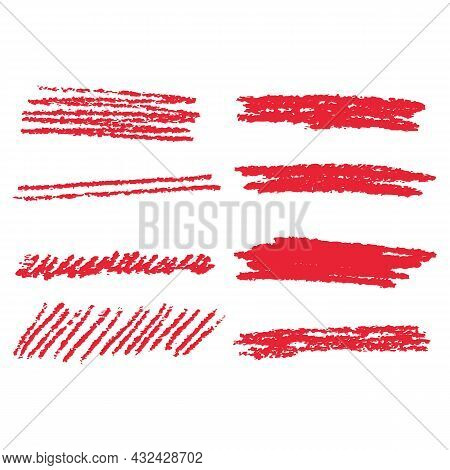 Red Marker Pen Highlighter Elements. Vector Illustration