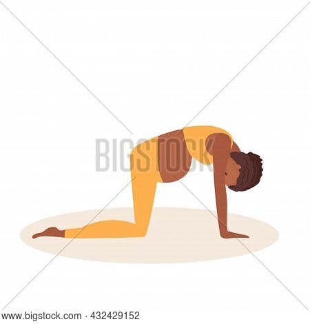 Cat Pose. Pregnant African American Woman Doing Yoga. Woman In Sportswear Doing Floor Exercises On M