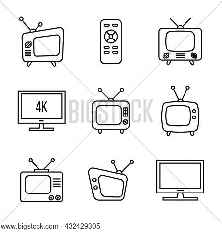 Vector Set Of Old Tv Icons. Vintage Television Devices. Editable Stroke.