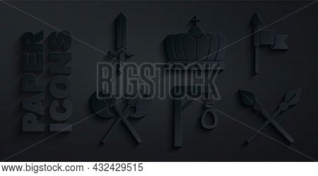 Set Gallows, Medieval Spear, Crossed Medieval Axes, Spears, King Crown And Sword Icon. Vector