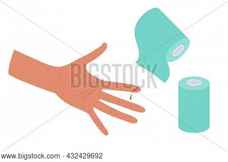 Physical Injury. First Aid For Cuts. Bandaging. Dressings In Roll And Injured Arm. Index Finger Cut