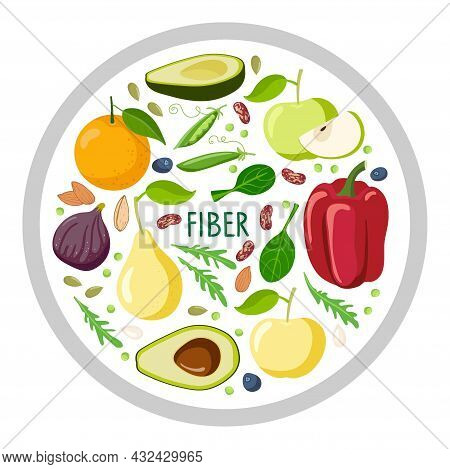 Round Sign With Fiber Food. Food Macronutrients. High Fiber Food For Healthy Nutrition And Diet Isol