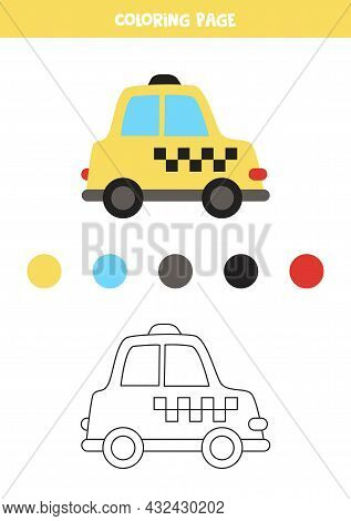 Coloring Page With Vector Taxi Cab. Worksheet For Children.