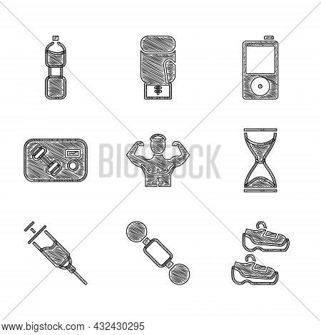 Set Bodybuilder Muscle, Dumbbell, Sport Sneakers, Old Hourglass, Doping Syringe, Fitness Club, Gym C