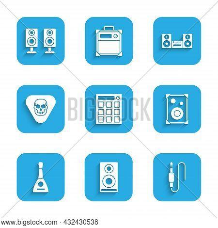 Set Drum Machine, Stereo Speaker, Audio Jack, Balalaika, Guitar Pick, Home Stereo And Icon. Vector