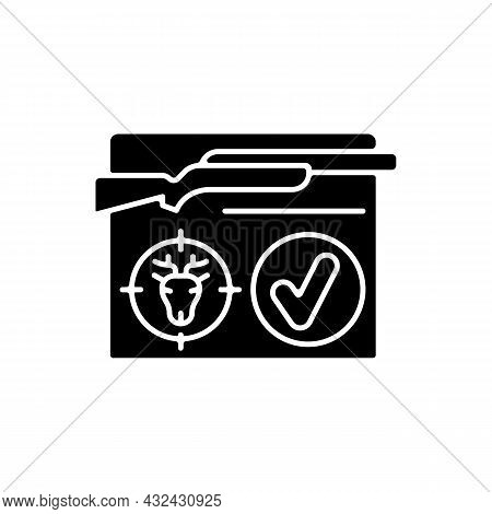 Resident Hunting License Black Glyph Icon. Hunt Permit, Endorsement. Qualified Hunter. Official Docu