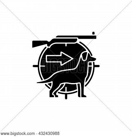Dog Handler Black Glyph Icon. Hunting With Canine. Trained Hunting Dog. Hunt Companion. Breeds For C