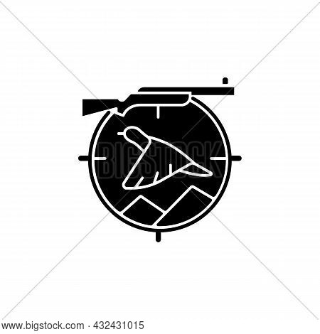 Upland Hunting Black Glyph Icon. Wingshooting. Terrestrial Birds. Hunting With Dogs. Pursue Pheasant
