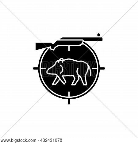 Wild Boar Hunting Black Glyph Icon. Capture And Kill Wild Hog. Ferral Peccary And Pig. Hunting With