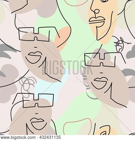 One Line Drawing. Abstract Face Seamless Pattern.