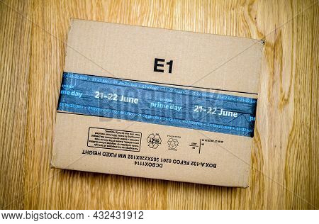 Paris, France - June 21, 2021: New Amazon Parcel Cardboard With Special Markings On The Cardboard Pa