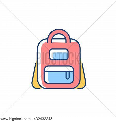 Schoolbag Rgb Color Icon. Bag For Carrying Books And Stationery Items. Backpack For School. Storing