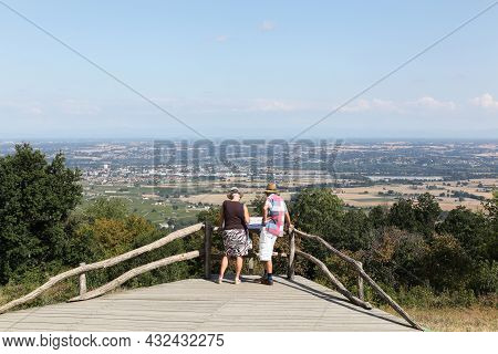 Odenas, France - September 4, 2018: View Of The Saone Valley From Mont Brouilly. Mont Brouilly Is A
