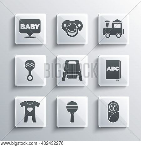 Set Rattle Baby Toy, Newborn Infant Swaddled, Abc Book, Baby Potty, Clothes, And Toy Train Icon. Vec