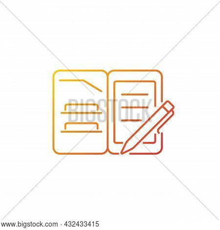 Portfolio Folder Gradient Linear Vector Icon. Keeping Paper Documents Safely. Carrying Papers, Drawi