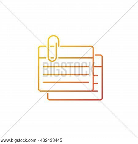 Index Card Gradient Linear Vector Icon. Small Piece For Recording Information. Flashcards For Studyi