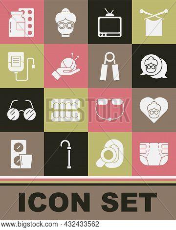 Set Adult Diaper, Grandmother, Retro Tv, Yarn Ball With Knitting Needles, Iv Bag, Pills Blister Pack