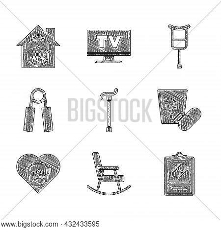 Set Walking Stick Cane, Rocking Chair, Medical Prescription, Medicine Pill Or Tablet, Grandmother, S