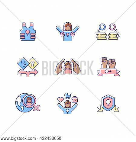 Feminist Activity Rgb Color Icons Set. Female Freedom Fighter. Radical Feminism. Equal Pay For Work.