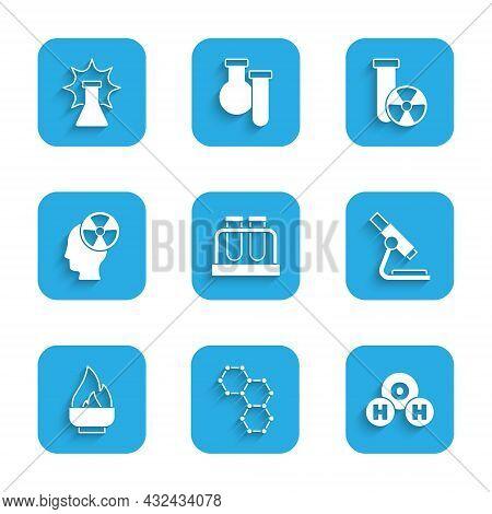 Set Test Tube And Flask, Chemical Formula, H2o, Microscope, Alcohol Spirit Burner, Head Radiation Sy