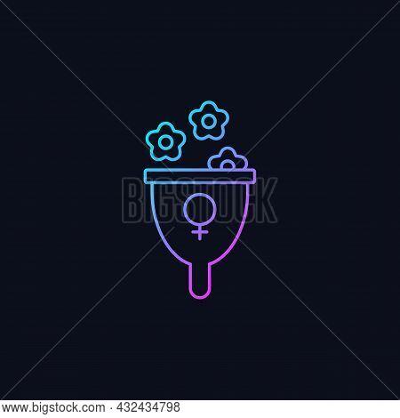 Femininity Symbol Gradient Vector Icon For Dark Theme. Represent Female Strength And Gentleness. Fem