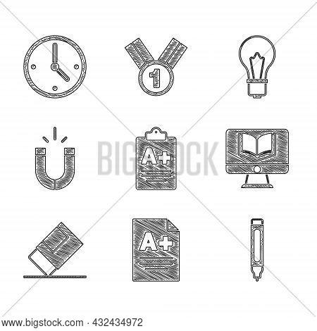 Set Exam Sheet With A Plus Grade, Marker Pen, Online Class, Eraser Or Rubber, Magnet, Light Bulb Ide