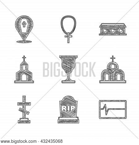 Set Christian Chalice, Tombstone With Rip Written, Beat Dead In Monitor, Church Building, Grave Cros