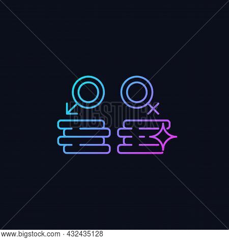 Workplace Gender Equality Gradient Vector Icon For Dark Theme. Equal Pay For Work. Fighting Inequali