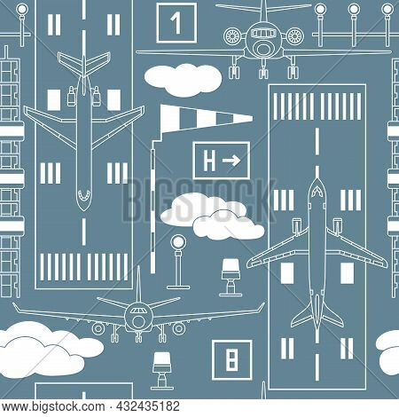 Seamless Vector Pattern With Passenger Airplanes On The Runway Strip On Gray Background. Can Be Used