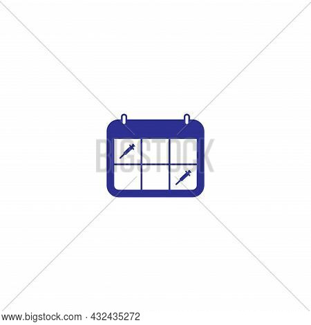 Covid-19 Vaccine Reminder Shot Appointment Calendar Icon Sigh Symbol