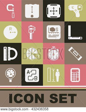Set Calculator, Construction Bubble Level, Corner Ruler, Area Measurement, Calliper Caliper And Scal