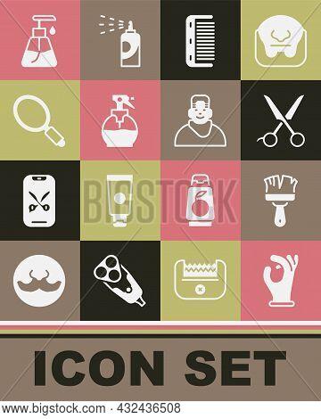 Set Medical Rubber Gloves, Shaving Brush, Scissors Hairdresser, Hairbrush, Hairdresser Pistol Spray