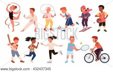 Kids Doing Sports Exercises Set Vector Illustration. Cartoon Happy Boy Girl Run, Child Play Football