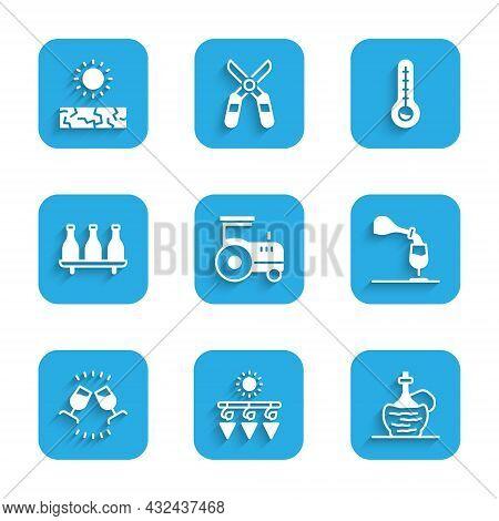 Set Tractor, Drying Grapes, Wine Italian Fiasco Bottle, Tasting, Degustation, Bottle Of Wine, Meteor