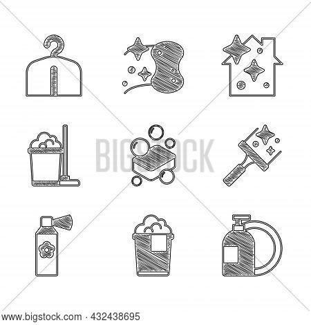 Set Bar Of Soap, Bucket With Foam, Dishwashing Liquid Bottle, Rubber Cleaner For Windows, Air Freshe
