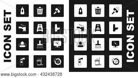 Set Vacuum Cleaner, Wet Floor, Water Tap, Dishwashing Liquid Bottle, Toilet Bowl, Trash Can, Home Cl