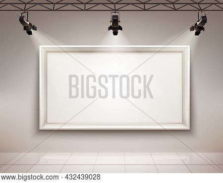 Gallery Room Interior With Blank Picture Frame Illuminated With Spotlights Realistic 3d Vector Illus