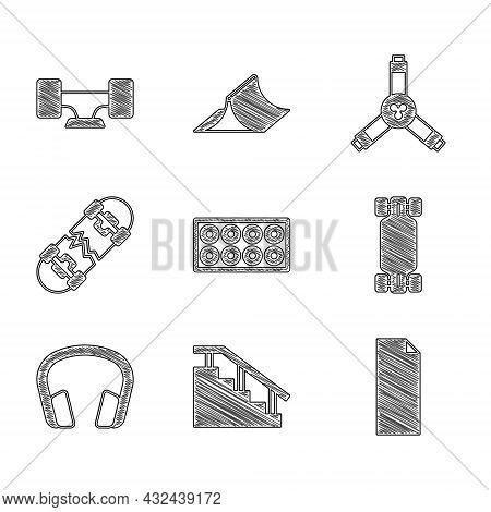 Set Skateboard Wheel, Stairs With Rail, Grip Tape On Skateboard, Longboard Or, Headphones, Broken, Y