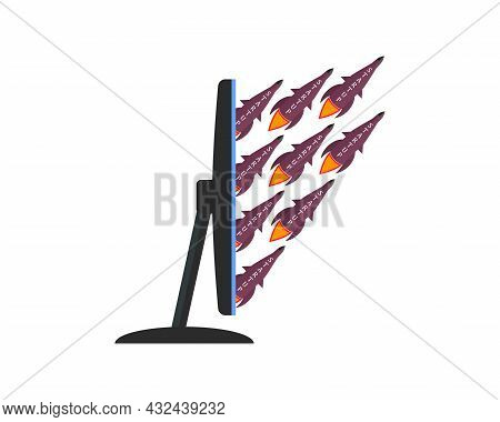 Startup Business Concept. Rockets With The Inscription Startup Fly Out Of The Computer Monitor. Side
