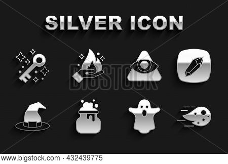 Set Witch Cauldron, Magic Stone, Fireball, Ghost, Hat, All-seeing Eye Of God, Old Magic Key And Hand