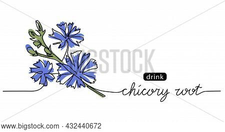 Chicory, Succory, Cichorium Wild Blue Flower Sketch. One Continuous Art Line Drawing Of Chicory