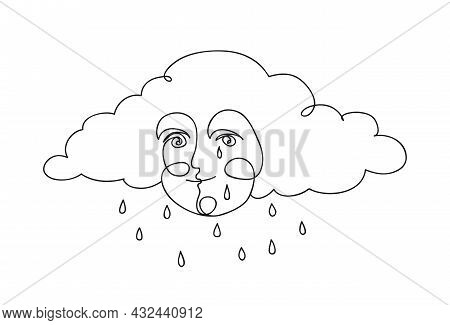 Cute Smiling Cloud With Rain Droplets. Weather Concept