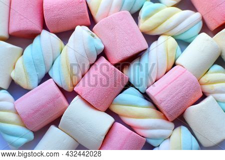 Multi-colored Marshmallows. Background Or Texture Of Colorful Pink And Blue Marshmallows.