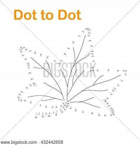 Autumn Leaf Dot To Dot Worksheet Fun Educational Game Or Leisure Activity, Vector Illustration