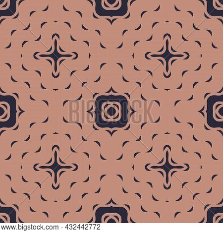 Vintage Abstract Seamless Pattern. Vector Illustration On A Caramel And Dark Purple Background With