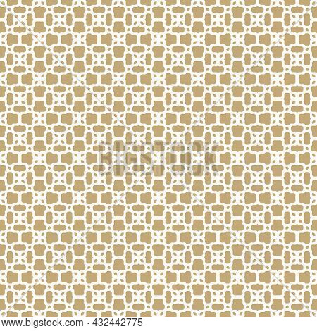 Arabic Floral Mesh Pattern. Golden Minimalist Vector Illustration With Small Geometric Leaf Shapes.
